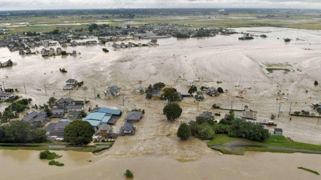 Floodwater in Joso, Japan