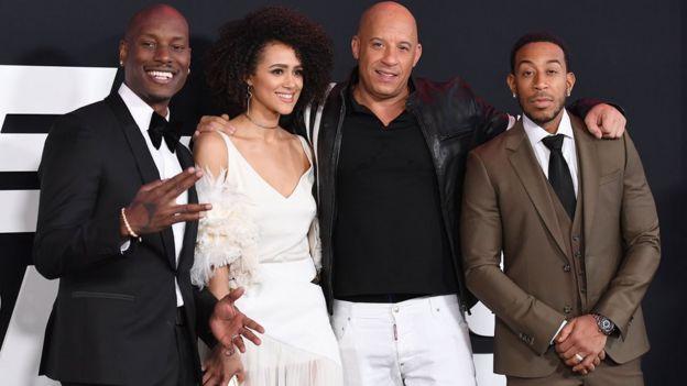 Tyrese Gibson, Nathalie Emmanuell, Vin Diesel and Ludacris