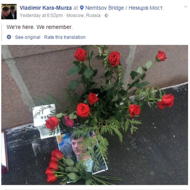 Mr Kara-Murza posted a tribute to his murdered friend Boris Nemtsov on Facebook