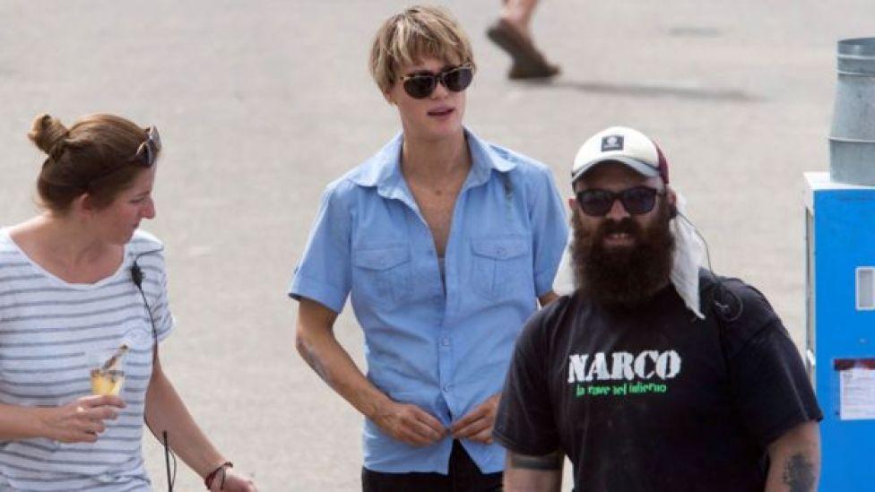 Mackenzie Davis (centre) on the Terminator set in Cartagena, Spain