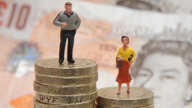 Figuras plásticas de un hombre y una mujer sobre dos pilas de monedas.