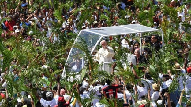 Pope Francis on a trip to Mauritius