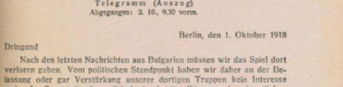 Telgrama de Paul von Hintze.