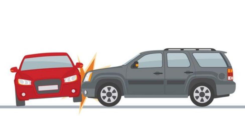 Ilustración de dos carros colisionando.