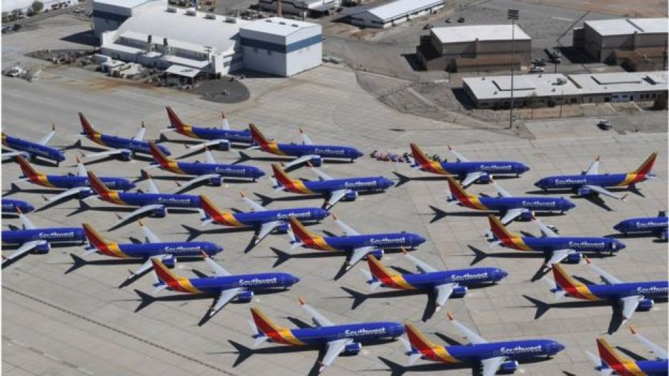 Grounded Southwest Airlines Boeing 737 Max aircraft parked at the Southern California Logistics Airport