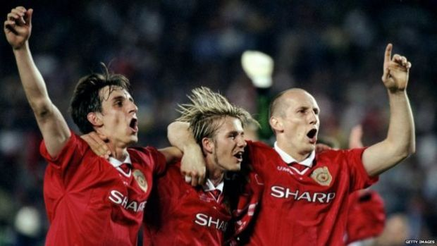 Gary Neville, David Beckham and Jaap Staam celebrate winning the 1999 Champions League