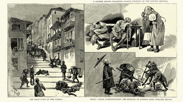 Ilustraciones que muestran cadáveres en las calles de Hong Kong en medio de la peste bubónica.