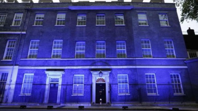 10 Downing Street lit up blue