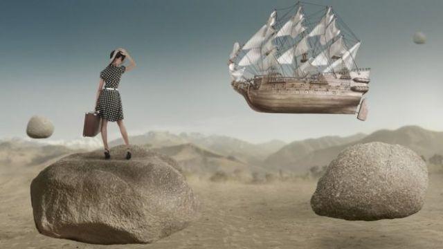 Ilustração mostra mulher sobre pedra enquanto barco flutua no ar