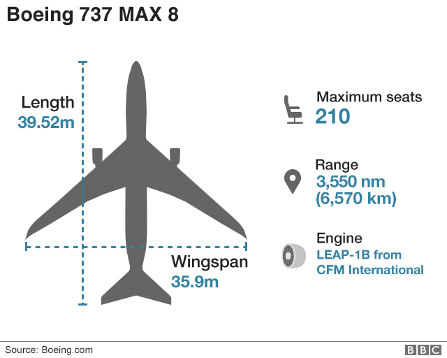 Graphic showing Boeing 737 Max 8