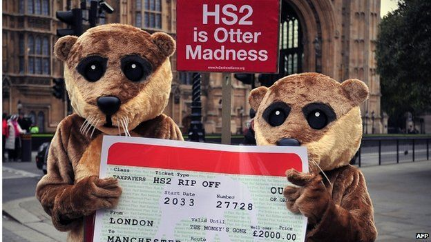 Protesters demonstrating against HS2