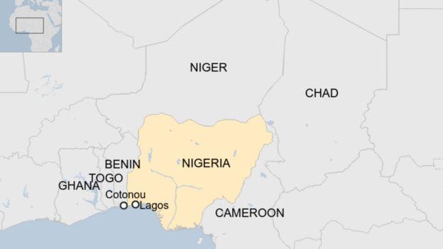 Map of countries surrounding Nigeria