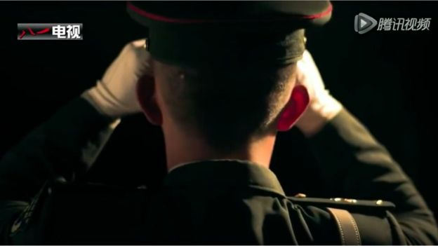 Shot of the back of the head of a soldier in dress uniform
