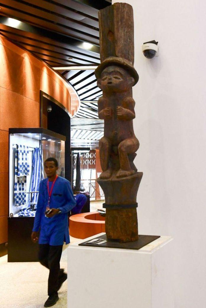 A man walks through the new museum Museum of Black Civilisations in Dakar