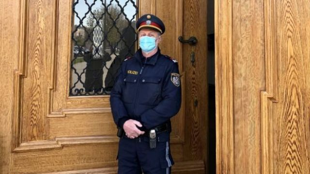 Police officer with mask