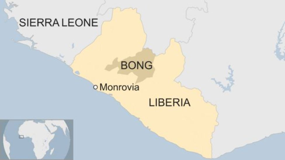 A map of Liberia, showing the capital, Monrovia, and Bong county