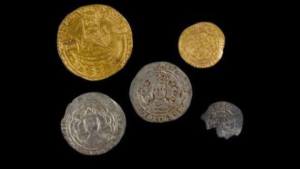 Five medieval coins