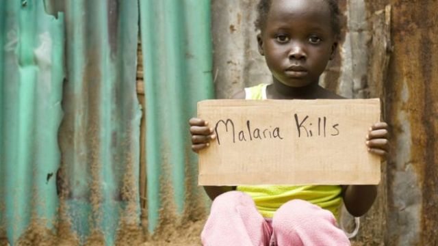 girl holding a sign saying 'malaria kills'