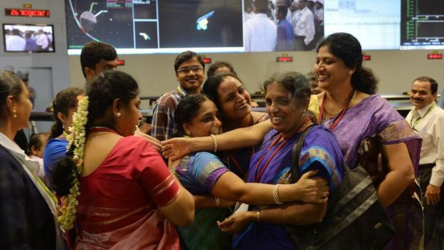 Isro staff celebrate Mars mission