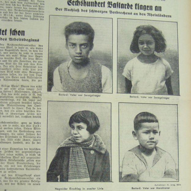 """Le terme péjoratif """"bâtards rhénans"""" a été inventé dans les années 1920 pour désigner les 600-800 enfants métis issus de ces relations."""