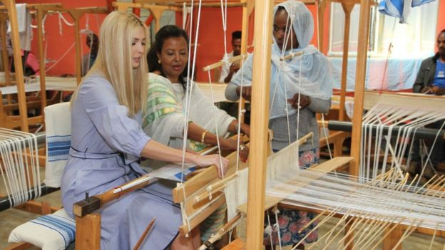 Ivanka Trump Yarn tries out a yarn making machine