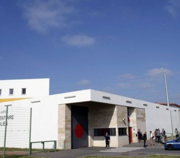 This file photo taken on September 24, 2013 shows the entrance of the Sud-Francilien prison in Reau, outside Paris