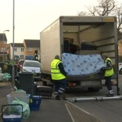 Council Sofa Collection Cardiff Marge Carson Bentley The Bulky Charges For Waste Disposal By Welsh Councils Bbc News Photo Of Staff Collecting An Old Mattress