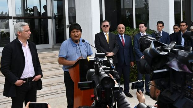 """Mr Morales, speaking at Mexico's international airport, vowed to continue his political """"fight"""""""