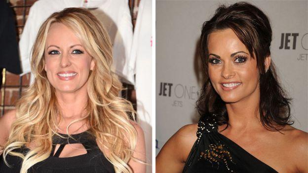 La actriz porno Stormy Daniels (izqda.) y la exmodelo de Playboy Karen McDougal