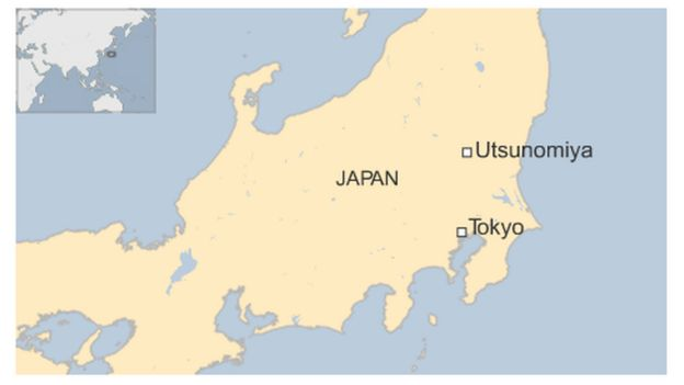 A map showing Utsunomiya, north of Tokyo, in Japan