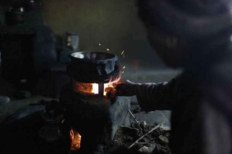 A leaky cooking stove in use in Nepal