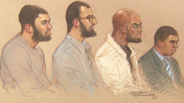Court sketch of defendants