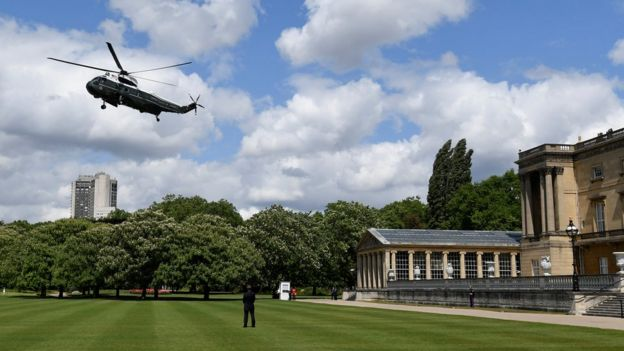 Marine One lands as US President Donald Trump and First Lady Melania Trump arrive at Buckingham Palace, in London