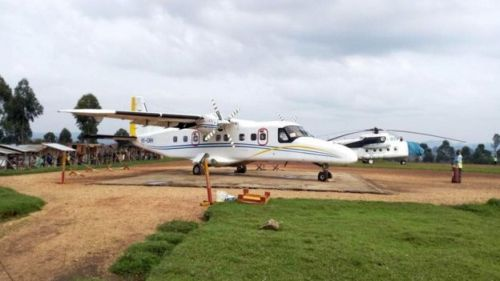 A Dornier 228-200 plane operated by local company Busy Bee is seen at the Goma International airport in Goma in picture taken on 24 March