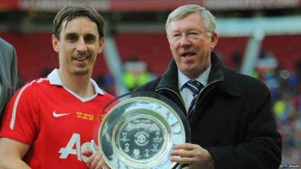 Gary Neville and Sir Alex Ferguson at the player's testimonial