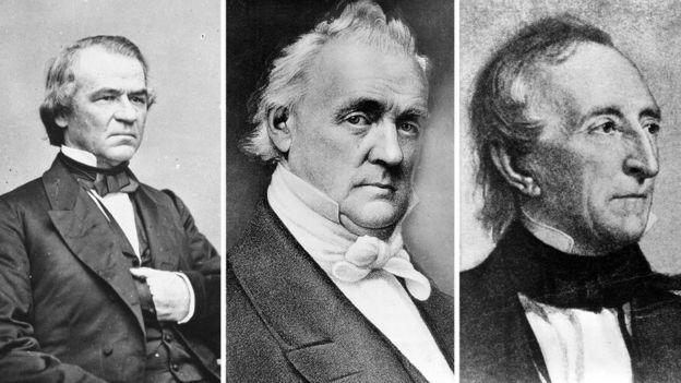 Andrew Johnson, James Buchanan and John Tyler