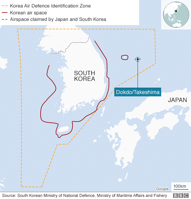 Map showing South Korea and Dokdo/Takeshima and airspace around them