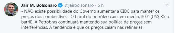 Reprodução tuíte Bolsonaro