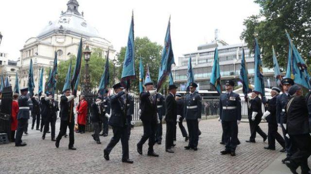 RAF servicemen outside Westminster Abbey