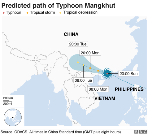 Map showing the path of Typhoon Mangkhut as of 18:00 GMT Sunday 16 Sept