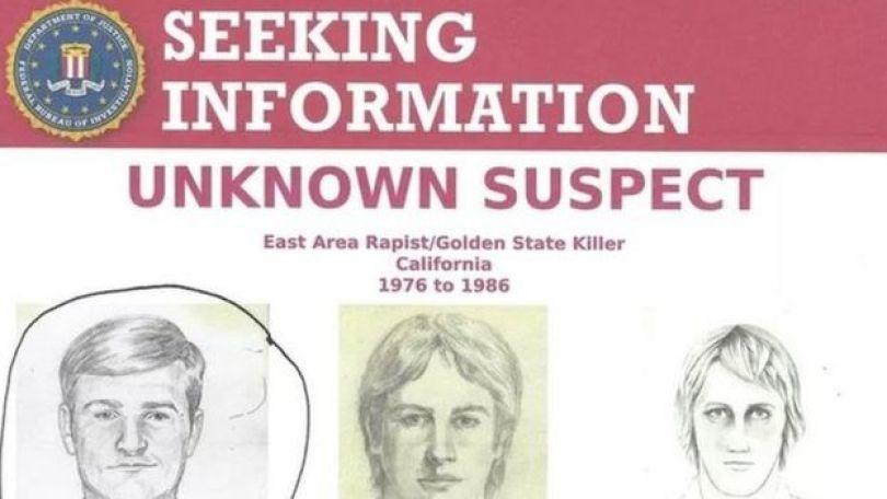 Folheto da polícia sobre recompensa para quem der informações sobre o assassino em série Golden State Killer