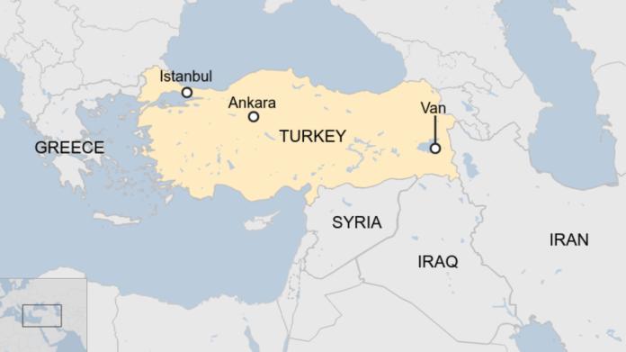 Map shows Van province in eastern Turkey