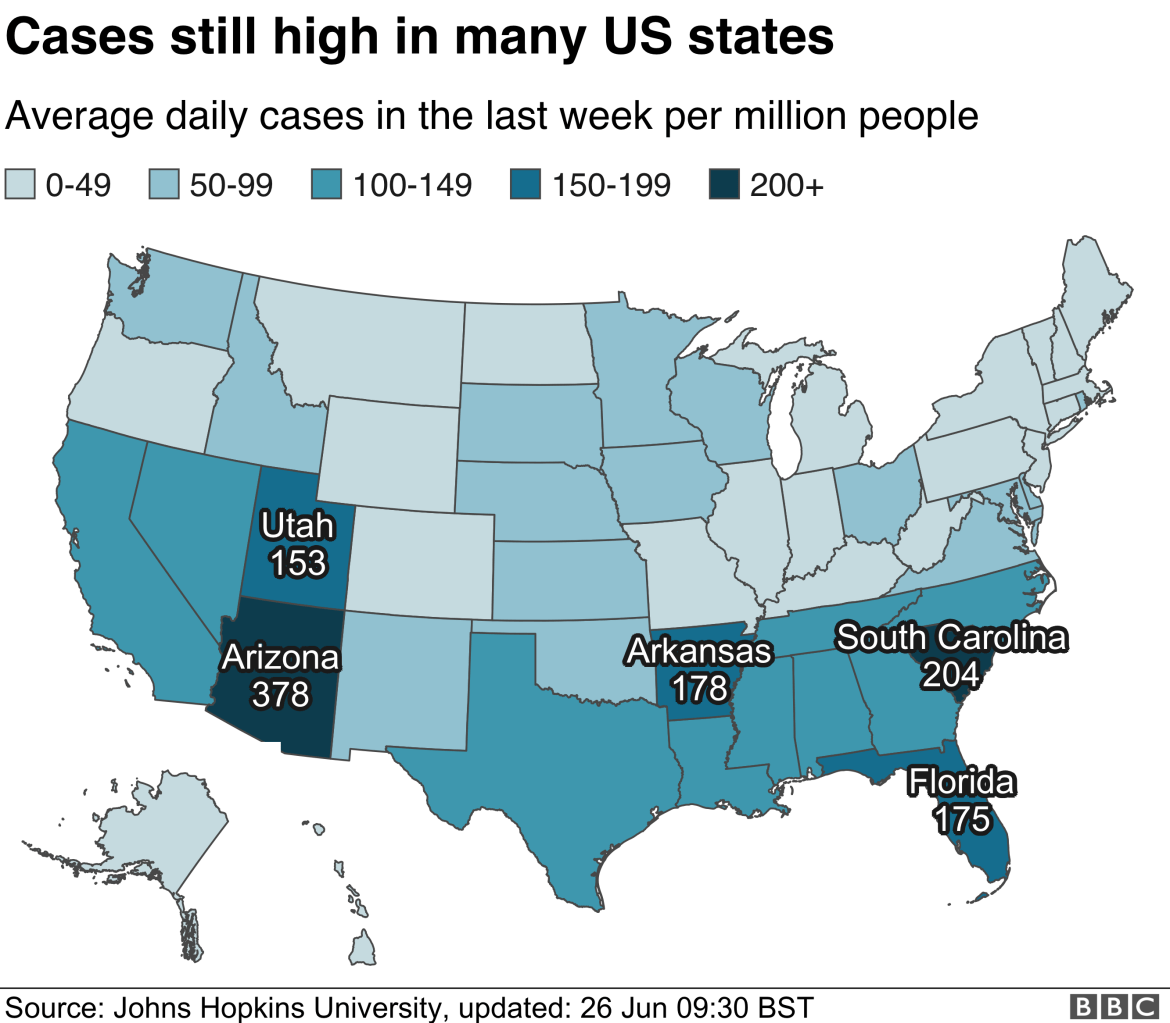 Map showing average daily cases per million people in US states in the last week