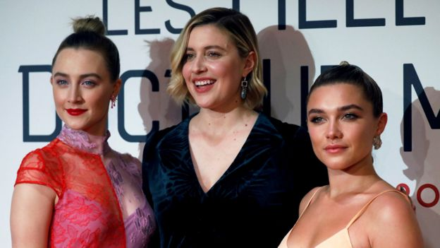 Greta Gerwig (centre) with Little Women stars Saoirse Ronan (left) and Florence Pugh