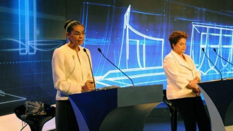 Marina Silva e Dilma Rousseff em debate presidencial