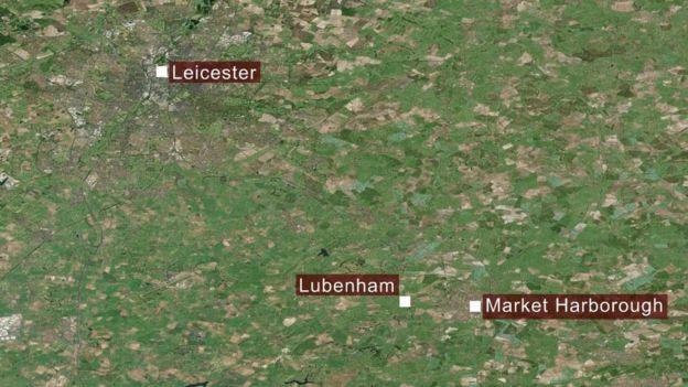 Map of Leicester, Lubenham and Market Harborough