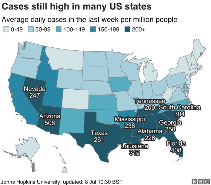 Map of US showing daily cases per million population by US state. 8 July.