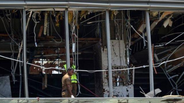 Blast damage at the Shangri-La hotel in Colombo