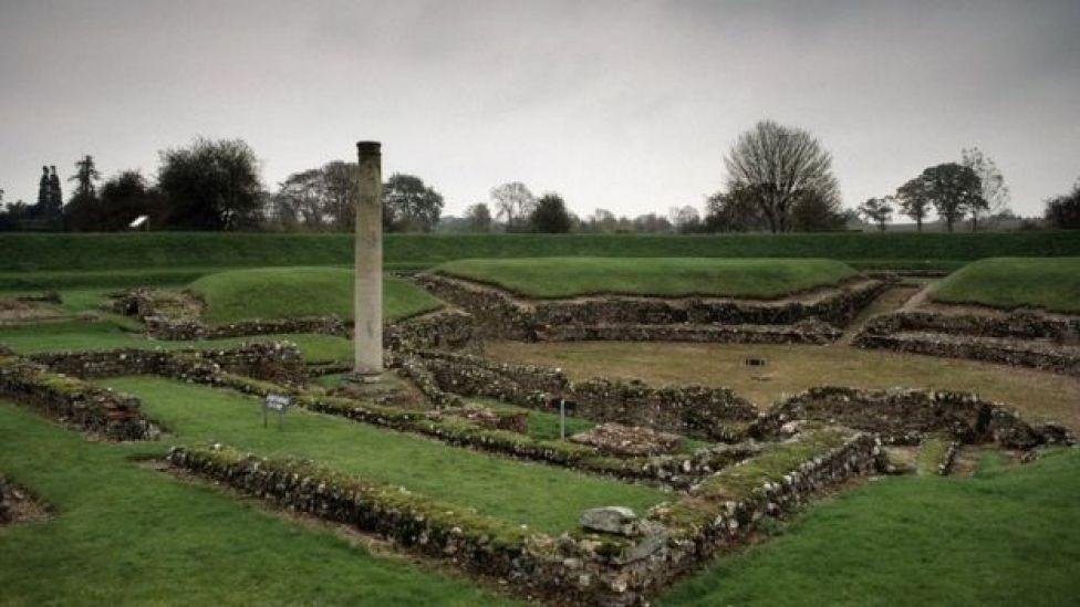Restos del teatro romano de Verulamium, 140 AD, Saint Albans, Hertfordshire, Inglaterra