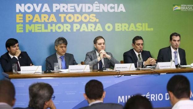 Técnicos do governo na apresentação da reforma da Previdência, em 20 de fevereiro de 2019